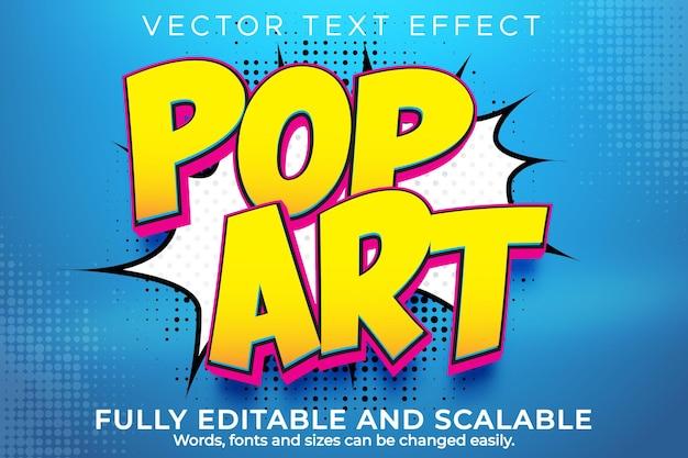 Estilo de texto vintage e retro editável com efeito de texto pop art