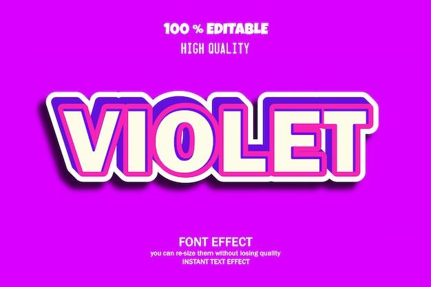 Estilo de texto violeta, efeito de fonte editável