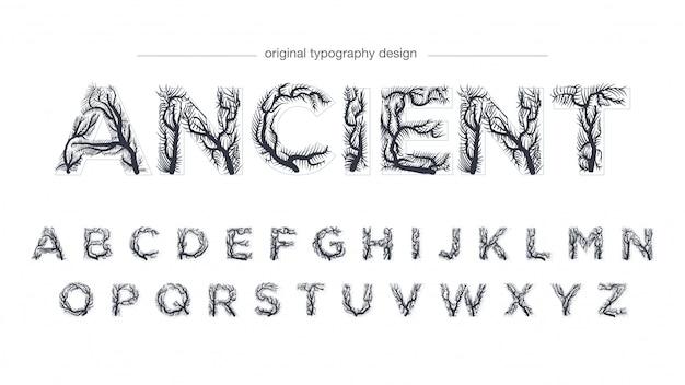 Estilo de tipografia de galhos de árvore abstrata