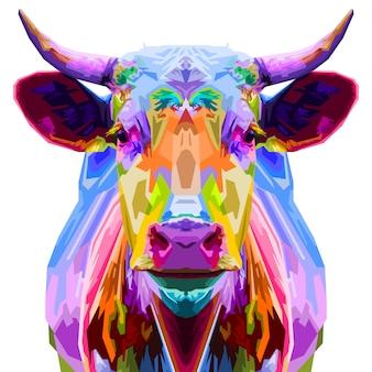 Estilo de touro colorido pop art isolado no fundo branco. ilustração