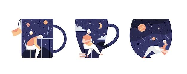 Estilo de trabalho à noite e tomando café. ilustração