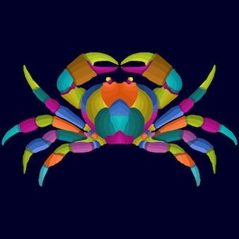Estilo de vetor pop art caranguejo colorido