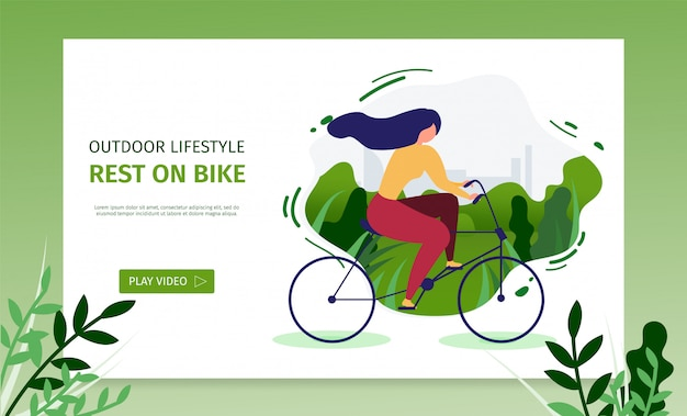 Estilo de vida ao ar livre landing page apresenta descanso na bicicleta