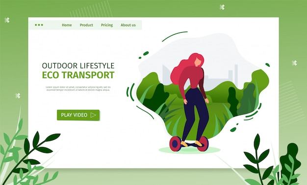 Estilo de vida ao ar livre landing page e promoção de transporte ecológico