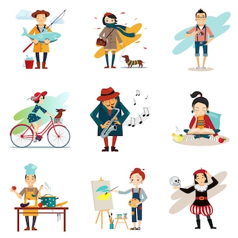 Estilo de vida ativo, passatempos, conjunto de ícones de estilo de vida saudável