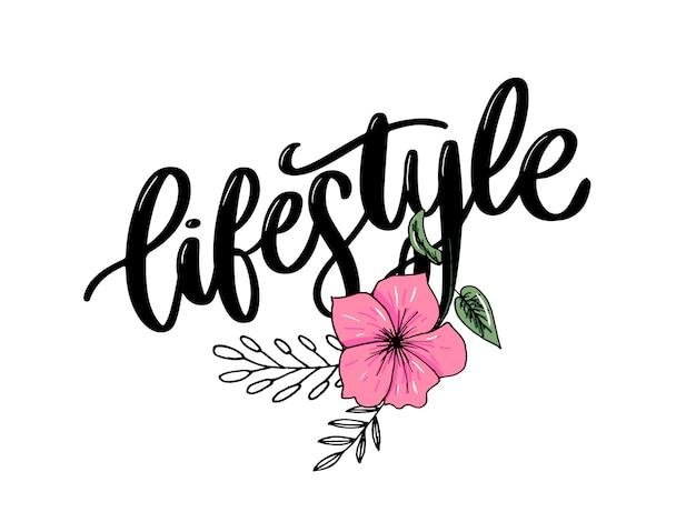 Estilo de vida comida saudável cartaz ou banner com frutas de mão desenhada e letras texto estilo de vida saudável em verde.