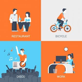 Estilo de vida conceito plano conjunto de pessoas no restaurante, clube de discoteca, andar de bicicleta e no trabalho vector a ilustração.