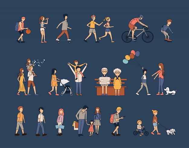 Estilo de vida de atividades de grupo de pessoas com família feliz