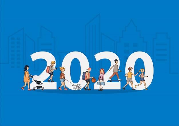 Estilo de vida de pessoas de ano novo de 2020 andando com grandes letras planas