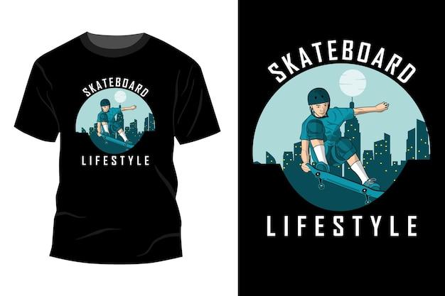 Estilo de vida de skate com design de t-shirt retro vintage