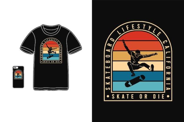 Estilo de vida de skate na califórnia, silhueta de mercadoria em camiseta estilo retro