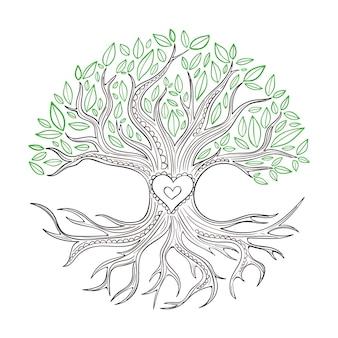 Estilo de vida em árvore desenhada à mão