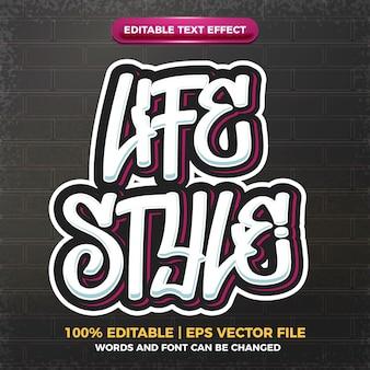 Estilo de vida graffiti estilo de arte logo efeito de texto editável 3d