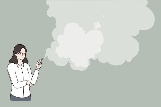 Estilo de vida pouco saudável e conceito de tabagismo. mulher jovem fumando cigarro em pé com muita fumaça no ar ilustração vetorial