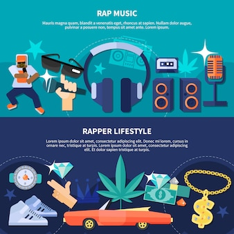 Estilo de vida rapper banners horizontais