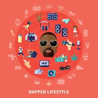 Estilo de vida rapper redondo composição