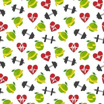 Estilo de vida saudável de aptidão de padrão sem emenda com ilustração de vetor de halteres de maçã de coração