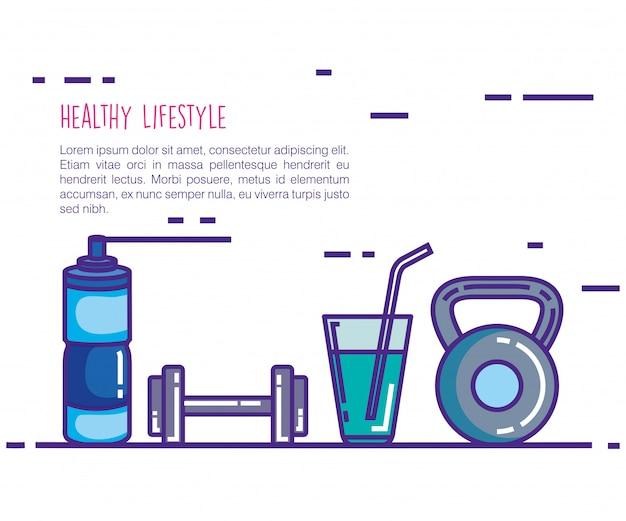 Estilo de vida saudável e fitness conjunto de ícones