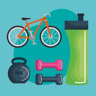 Estilo de vida saudável e objetos esportivos