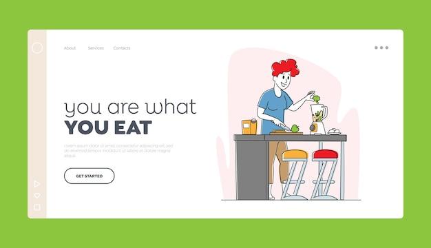 Estilo de vida saudável, eco food eating landing page template