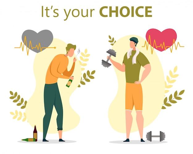 Estilo de vida saudável ou insalubre escolha plana