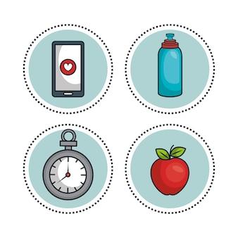 Estilo de vida saudável plana ícones vector design ilustração