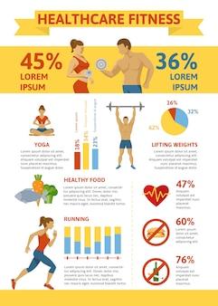 Estilo de vida saudável plana infográfico conceito