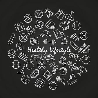 Estilo de vida saudável rodada conceito no quadro-negro
