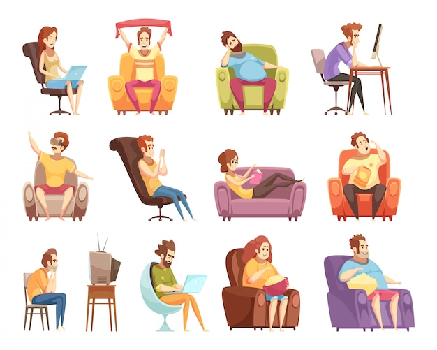 Estilo de vida sedentário conjunto de ícones retrô dos desenhos animados