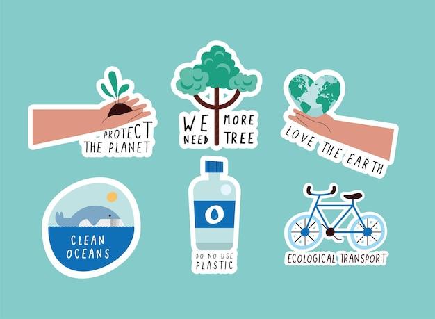 Estilo de vida verde com seis ícones