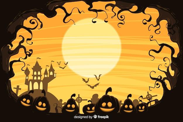 Estilo decorativo de halloween mão desenhada de fundo