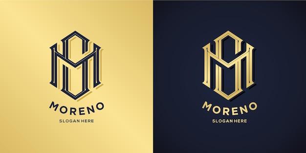 Estilo decorativo do logotipo das letras m e s