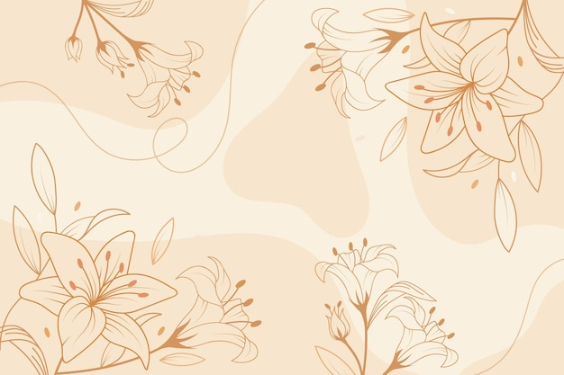 Estilo desenhado à mão com fundo floral