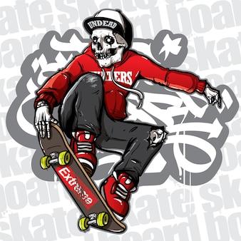 Estilo desenhado à mão do skate de equitação do crânio