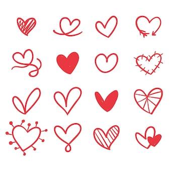 Estilo desenhado à mão, formas coloridas de coração