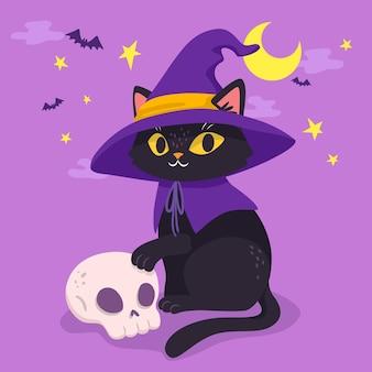 Estilo desenhado à mão gato halloween