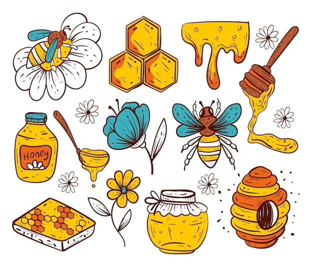 Estilo desenhado à mão, mel, isolado, conjunto de elementos de design gráfico