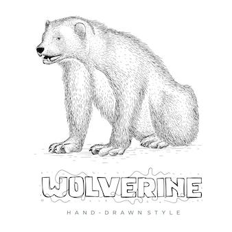Estilo desenhado da mão do vetor wolverine. ilustrações realistas de animais