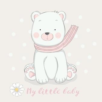 Estilo desenhado de bebê fofo urso mão desenhada