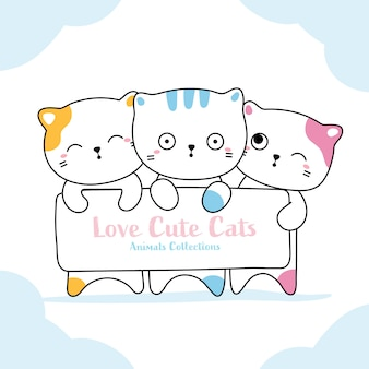 Estilo desenhado de gato animal mão fofo