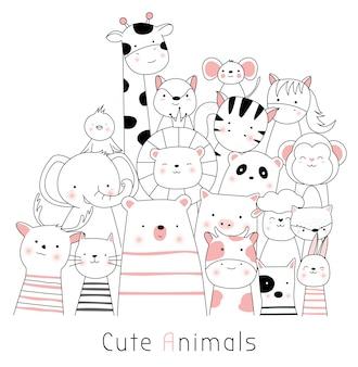 Estilo desenhado de mão animal bonito dos desenhos animados