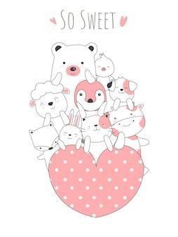 Estilo desenhado de mão bebê fofo animais dos desenhos animados