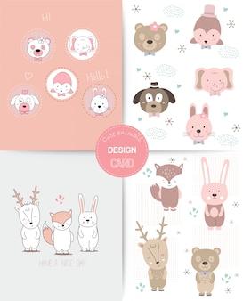 Estilo desenhado de mão. bonito dos desenhos animados animais colorido doodle animais sem costura padrão