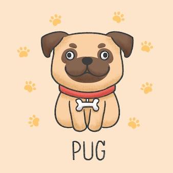 Estilo desenhado de pug cachorro bonito dos desenhos animados mão