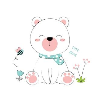 Estilo desenhado de urso bonito mão