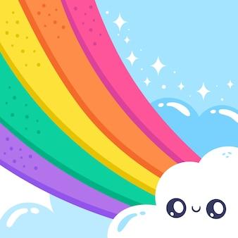 Estilo desenhado mão do arco-íris
