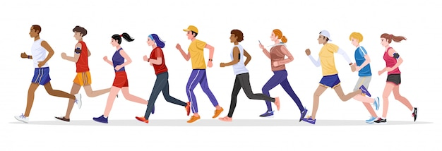 Estilo design plano. grupo de jovens saudáveis homens e mulheres correndo juntos. vetor