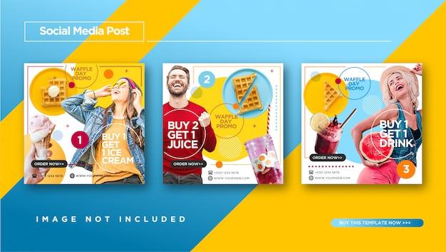 Estilo divertido e colorido de fast food e culinária instagram post design