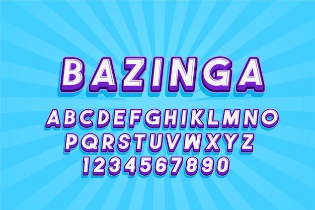 Estilo do alfabeto 3d em quadrinhos