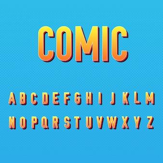 Estilo do alfabeto em quadrinhos 3d
